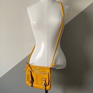 Etienne Aigner Yellow Leather Crossbody Bag Purse